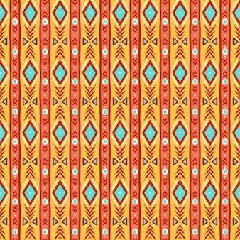かわいい部族のストライプの黄色と青のシームレスパターン
