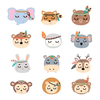 Cute tribal woodland animal head collection