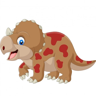 Cute triceratops cartoon on white