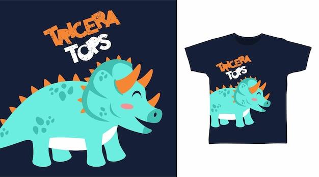 Симпатичный дизайн футболки динозавра трицератопса