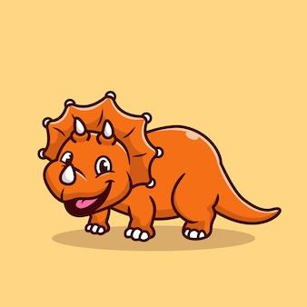Cute triceratops smiling cartoon   icon illustration. animal dinosaur icon concept isolated  . flat cartoon style