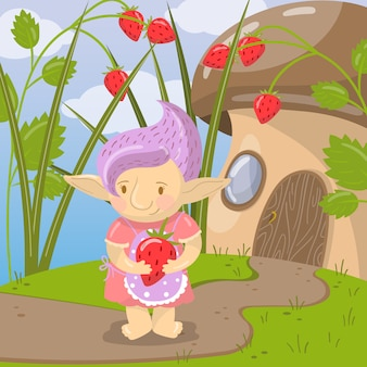 Cute troll girl character with strawberry standing on the background of fairytale mushroom house  illustration, cartoon style