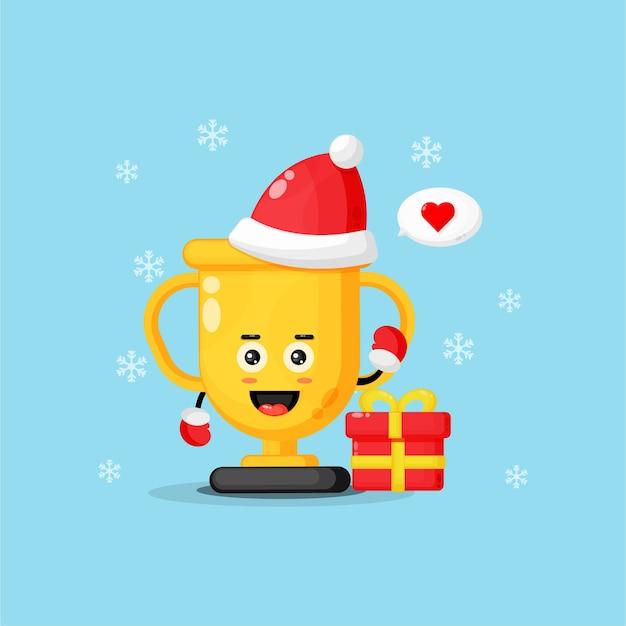 크리스마스를 축 하하는 귀여운 트로피 마스코트