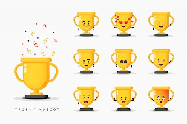 Cute trophy mascot design set