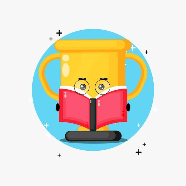 Cute trophy mascot reading a book