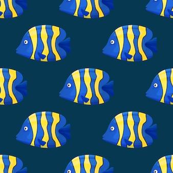 Cute tropical fish on dark background. brightly-coloured ocean fish. underwater marine wild life. seamless pattern.