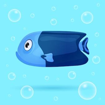 泡で青い背景にかわいい熱帯魚。鮮やかな色の海の魚。水中の海洋野生生物。図。