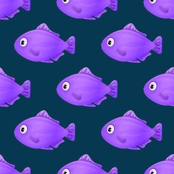 暗い背景にかわいい熱帯魚。鮮やかな色の海の魚。水中の海洋野生生物。シームレスパターン。