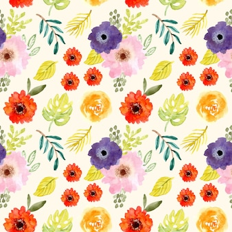 Cute tropical flower watercolor seamless pattern