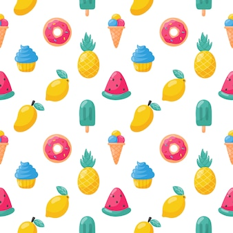 Cute tropical fruits  with ice cream seamless pattern. lemon, watermelon, pineapple. summer food. illustration vector.