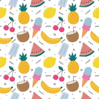 Милые тропические фрукты с мороженым бесшовные модели