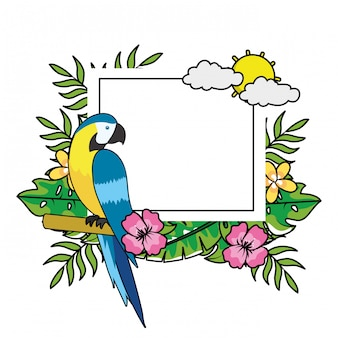 귀여운 열대 앵무새 만화