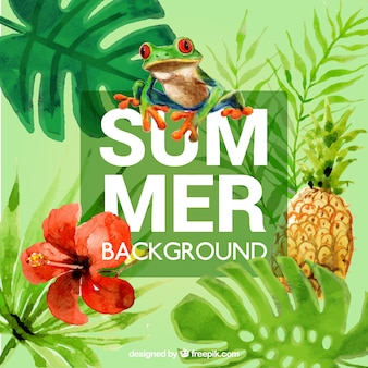 Cute tropical summer background with watercolors