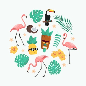 Cute tropical summer character vector pack