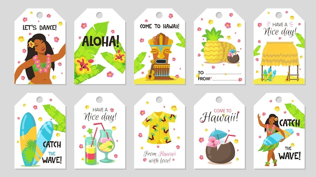 Cute tropical tag. gift tags with girl, coconut, surfboard