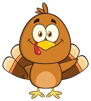 Cute turkey bird cartoon character waving.