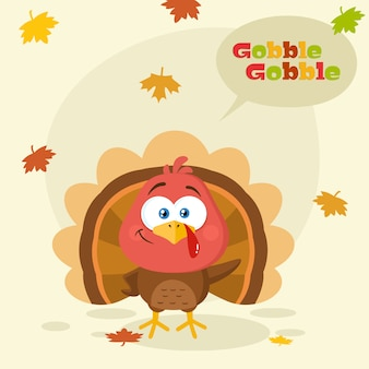 Cute turkey bird cartoon character waving