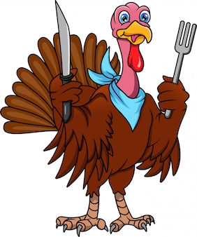 Cute turkey bird cartoon holding cutlery