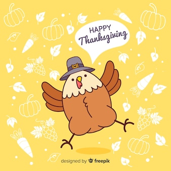 Cute turkey thanksgiving background