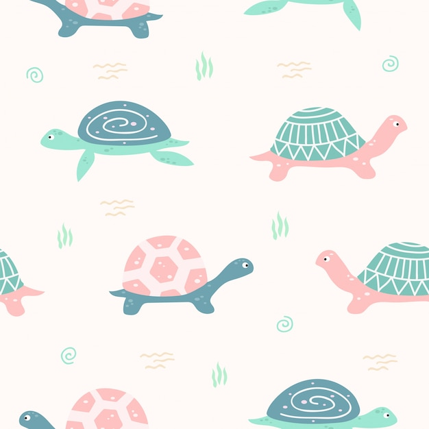 Cute turtle animal seamless pattern for wallpaper