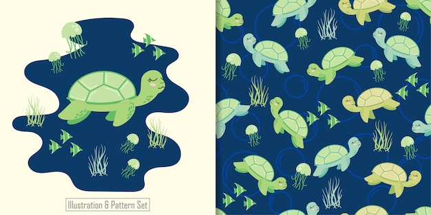 Cute turtle animal seamless pattern with hand drawn illustration card set