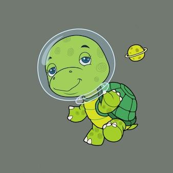 Cute turtle astronaut.