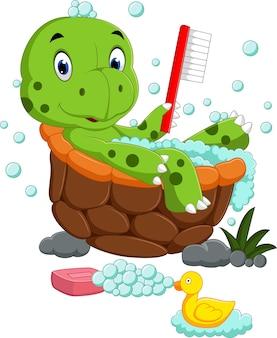 Cute turtle bathing