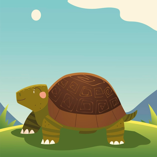 Симпатичная черепаха мультяшное животное в траве