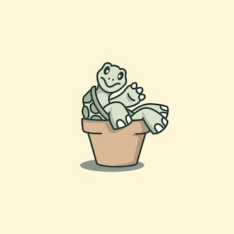 Cute turtle cartoon leaning back on the pot
