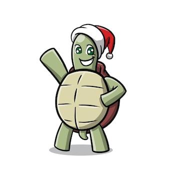 クリスマスの漫画を祝うかわいいカメ