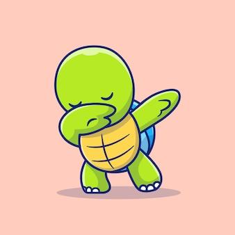 Симпатичные черепахи вытирая мультфильм значок иллюстрации. изолированная концепция значка животной природы. плоский мультяшном стиле