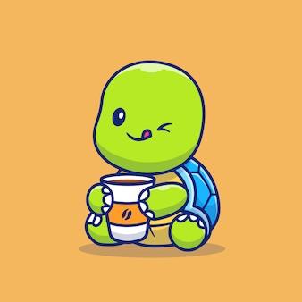 Симпатичная черепаха, пить чашку кофе мультфильм значок иллюстрации. концепция значок животных кофе изолированы. плоский мультяшном стиле