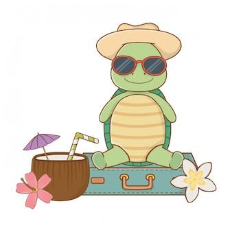 Cute turtle enjoying summer vacations