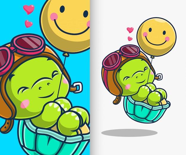 풍선 아이콘 일러스트와 함께 떠있는 귀여운 거북이. 거북이 마스코트 만화 캐릭터.