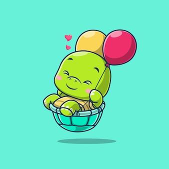 Милая черепаха, плавающая с воздушным шаром, изолированным на зеленом