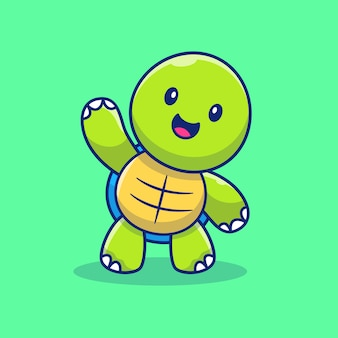 Cute turtle hand up illustration. turtle mascot cartoon character. animal isolated