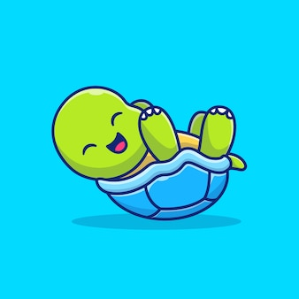 Cute turtle laughing and lying down cartoon   icon illustration. animals nature icon concept isolated  . flat cartoon style