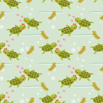 Cute turtle in love seamless pattern.