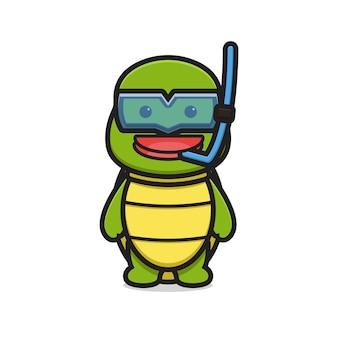 Симпатичный персонаж-талисман черепахи носить очки для дайвинга мультяшный вектор значок иллюстрации. дизайн, изолированные на белом. плоский мультяшный стиль.