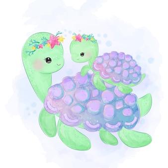 Симпатичные черепаха материнство иллюстрации в акварели