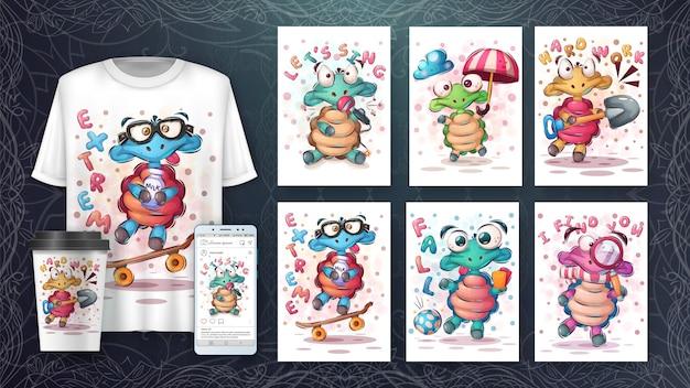 Симпатичный плакат с черепахой и мерчендайзинг