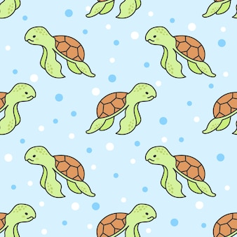 Cute turtle seamless pattern background