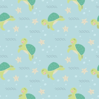 Cute turtle seamless pattern