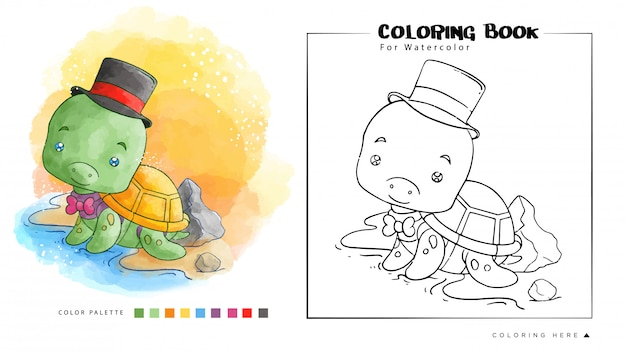 Cute turtle on the seashore with magician uniform. cartoon illustration for watercolor coloring book