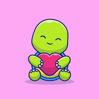 Милая черепаха сидит, держа любовь иллюстрации шаржа. изолированная концепция значка любви животных. плоский мультяшном стиле