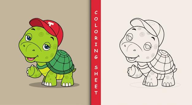 Милая черепаха машет рукой. раскраска.