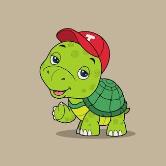 Милая черепаха машет рукой.