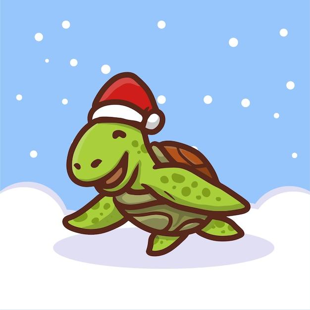 Милая черепаха в шляпе санты в снегу