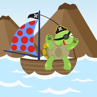 Cute turttle be a pirate with ship