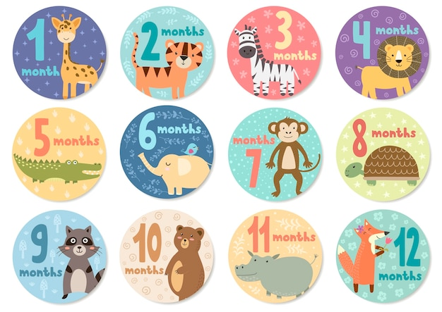 Cute twelve months stickers with animals for babies.